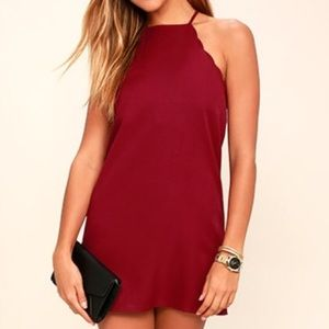 Lulus Endlessly Endearing Scalloped Wine Red Dress